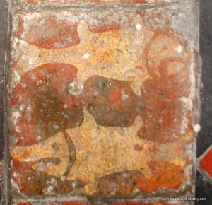 Rare Medieval Fish Tiles, St Leonards Church Hartley Mauditt