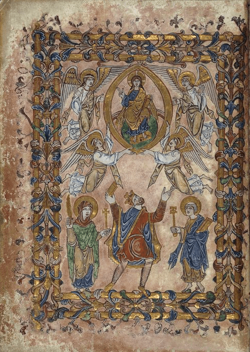The New Minster Charter Winchester, showing King Edgar holding aloft the charter in the presence of the Virgin Mary, St Peter, Christ and angels