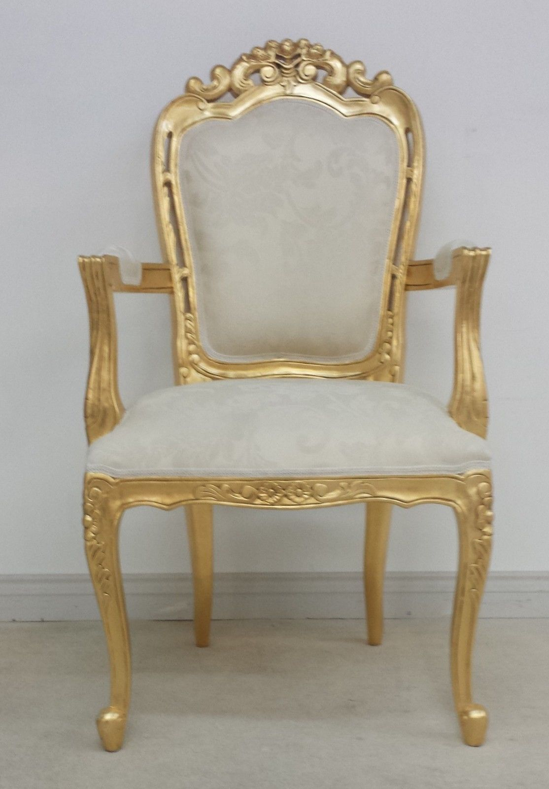 Franciscan Chair In Gilded Gold And Ivory Cream Dining Or