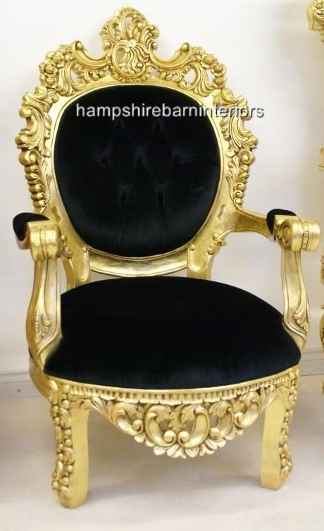 ARABIAN NIGHTS THRONE CHAIRGOLD AND BLACK OR GOLD AND
