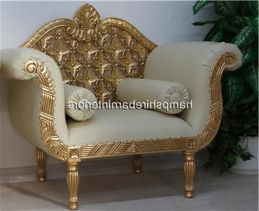 A A ROYAL WEDDING SET SOFA PLUS TWO CHAIRS IN GOLD LEAF