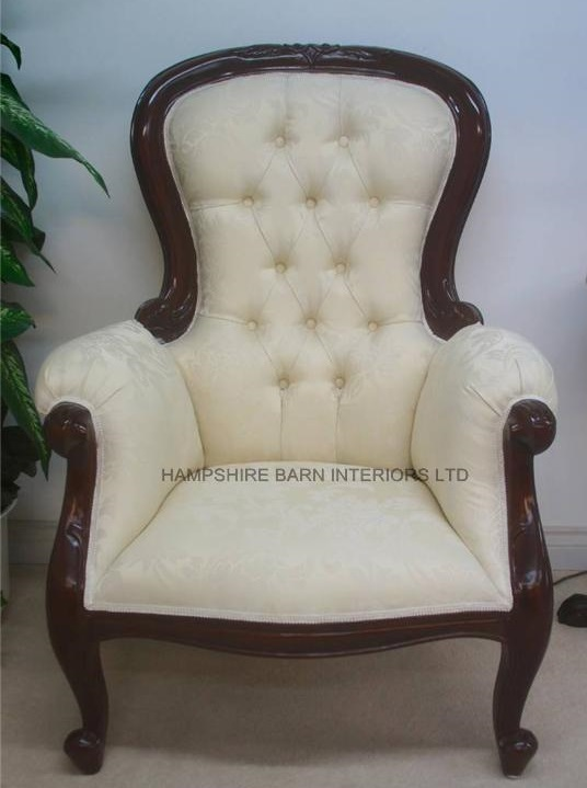 Antique Replica Arm Chair Victorian Wing Style Mahogany