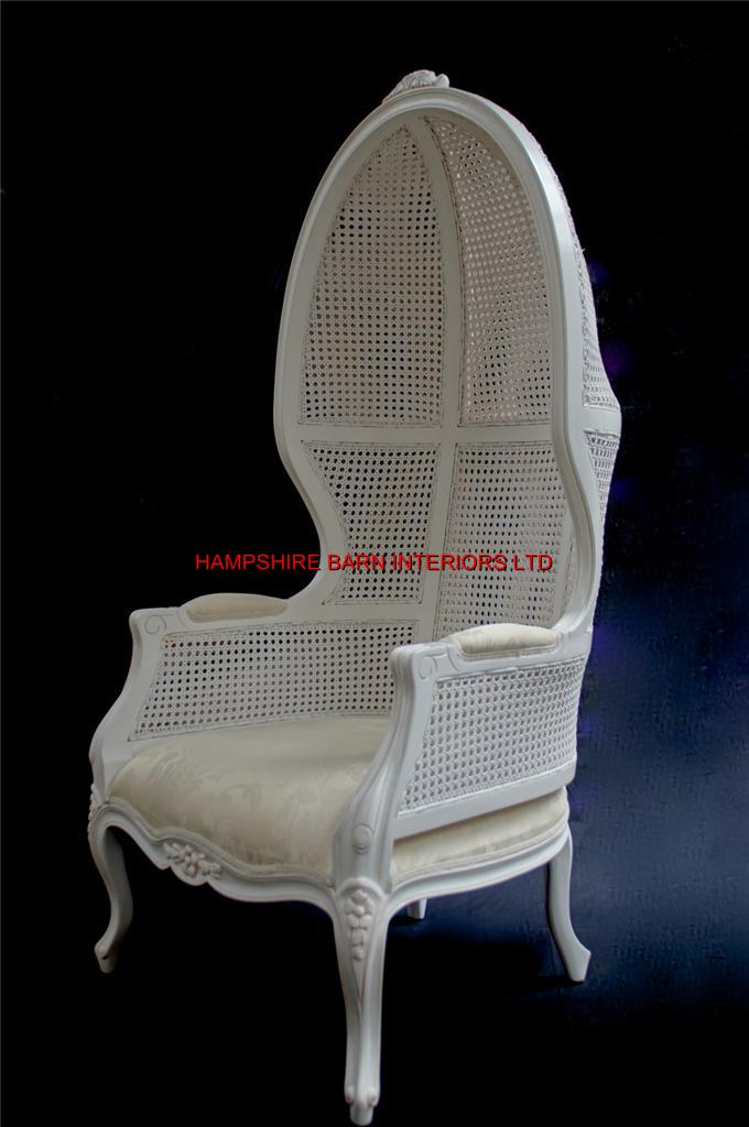 White Feature Tall Throne Arm Chair French Designer Hooded