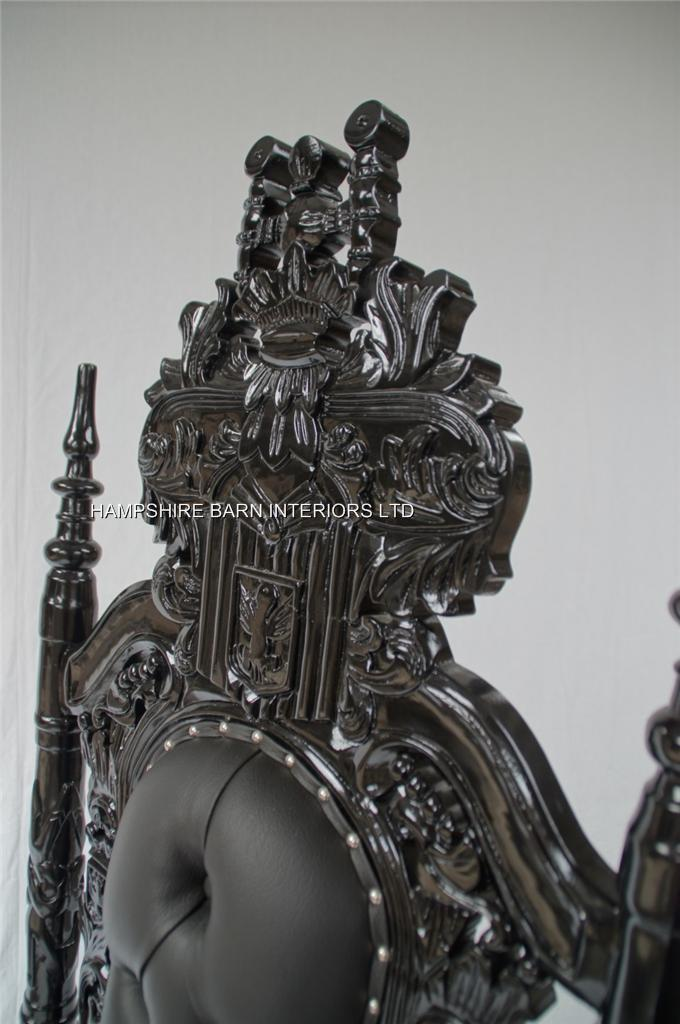 BLACK GOTHIC LION THRONE CHAIR SEXY BLACK FAUX LEATHER WITH SILVER UPHOLSTERY STUDS Hampshire