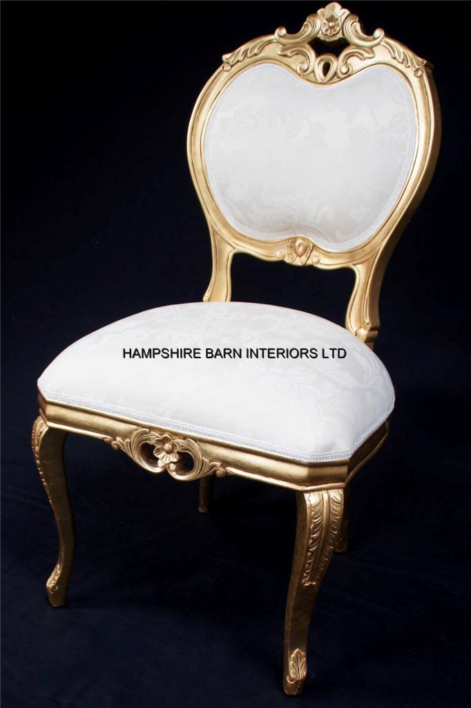 HEART ORNATE CHAIR GOLD IVORY CREAM DINING SIDE BEDROOM