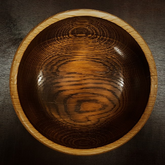 Scorched oak bowl. Finished with Hampshire Sheen