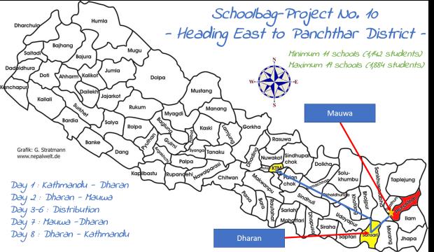 Schultaschen-Projekt Nr. 10 in Mauwa im Distrikt Panchthar