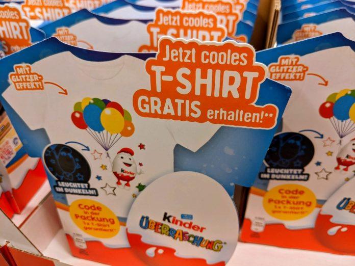 Kinder Überraschung: Code eingeben und T-Shirt gratis erhalten
