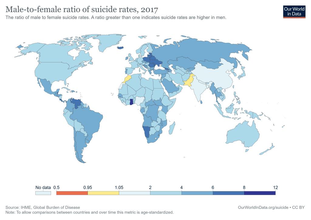 نسب الانتحار عند الذكور مقسومةً إلى نسبه عند الإناث