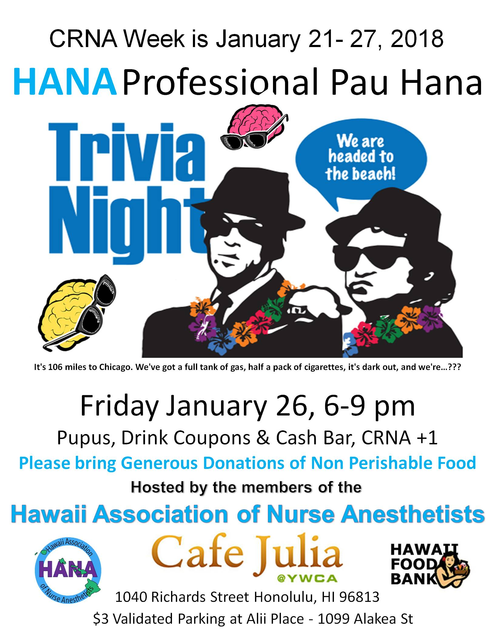 CRNA Week Trivia Night!  Cafe Julia  Jan. 26, 6-9 pm