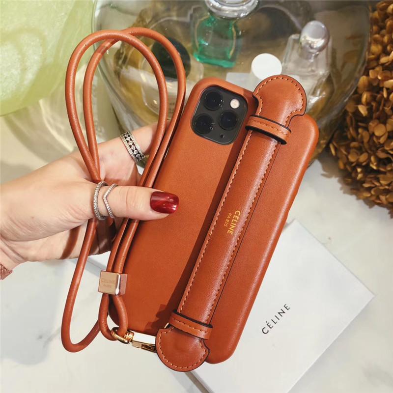 セリーヌ 携帯 ケース iphone12mini 有名人 celine iphone12pro maxケース 首掛け ハンド付き アイフォン11pro/xs/se2 ケース ラムスキン素材 高級 iphonexr/8plus カバー 人気 女子