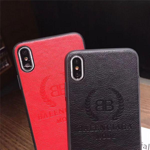 バレンシアガ iphone12ケース 革 高級 balenciaga アイフォン12pro max/11プロケース 黒 赤 iphonexr/se 第二世代 保護カバー カップル iphonex/xs ソフトケース