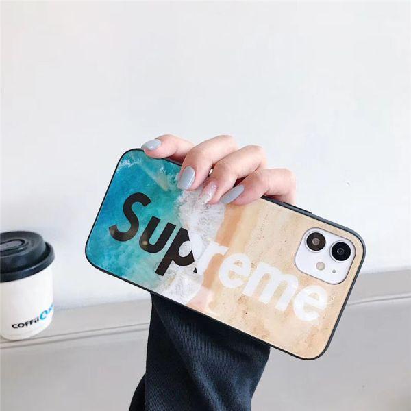 supreme ロゴ iphone12pro max ガラスケース カップル シュプリーム iphone12 11プロカバー おしゃれ 海外 アイフォン11/xs max/8plus携帯ケース ストリート系 高校生愛用