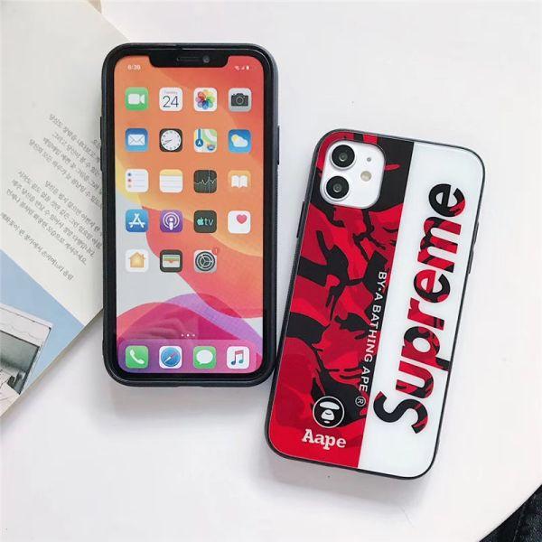 シュプリーム スマホケース12 ガラス Supreme iphone12miniケース カップル アイフォン11pro/11pro max ケータイカバー かっこいい ストリート系 iphonexs iphonex 携帯ケース 海外セレブ