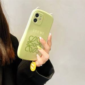 ロエベ iphone13pro/13 ケース グリーン かわいい Loewe iphoneケース12pro max 猫耳 アイフォン11pro/x/xs max ソフトカバー インスタ風 オシャレ