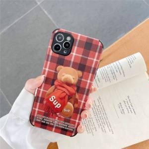 シュプリーム iphone13/13proケース くま チェック柄 iphone12pro max スマホケース ペア iphone11/xs maxカバー 韓国風 人気 supreme 携帯ケース 丈夫 可愛い