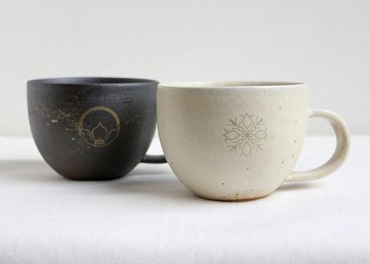 花個紋 信楽焼マグカップ-鳶茶色/生成色