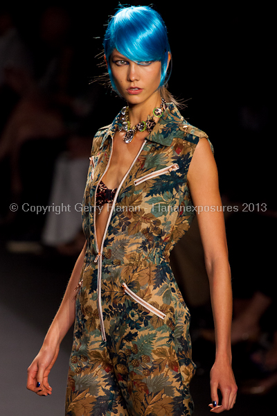 Karlie Kloss on the runway at the Anna Sui SS2013 show during New York Mercedes-Benz.