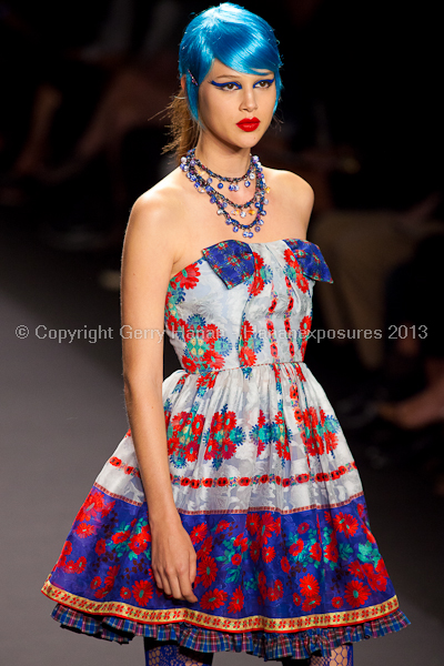 A model on the runway at the Anna Sui SS2013 show during New York Mercedes-Benz.