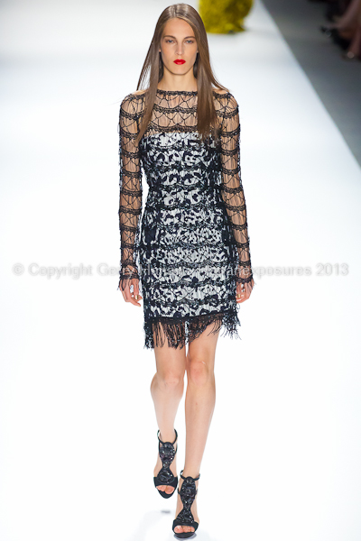 A model on the runway at the Carlos Miele SS2013 show at New York Mercedes-Benz Fashion Week.