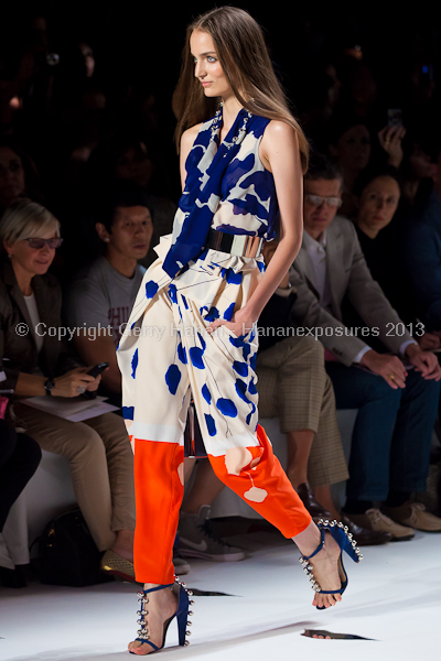 A model on the runway at the Diane Von Furstenberg SS2013 show at New York Mercedes-Benz Fashion Week.