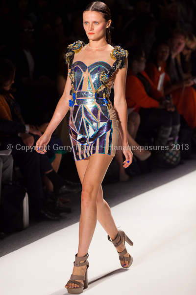 A model on the runway at the Falguni Shane Peacock SS2013 show at New York Mercedes-Benz Fashion Week.