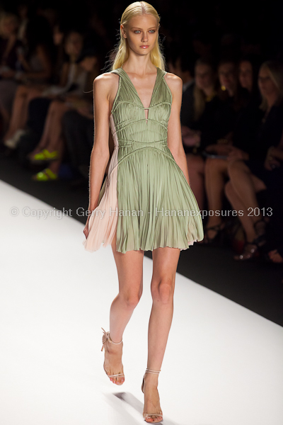 A model on the runway at the J Mendel SS2013 show at New York Mercedes-Benz Fashion Week.