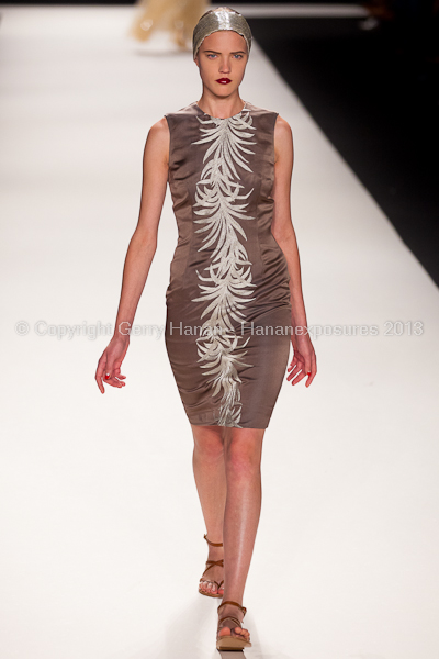 A model on the runway at the Naeem Khan SS2013 show at New York Mercedes-Benz Fashion Week.