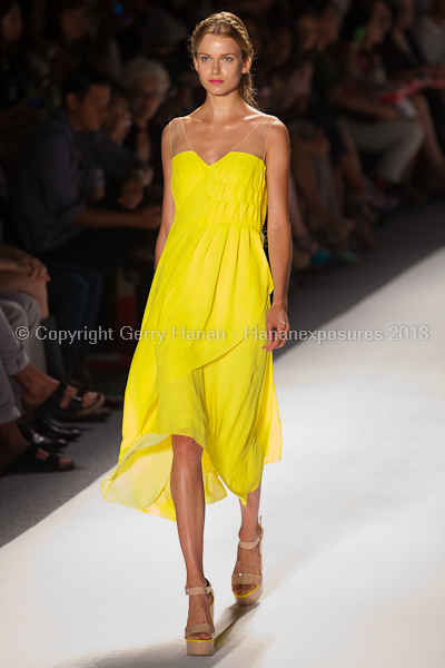 A model on the runway at the Son Jung Wan SS2013 show at New York Mercedes-Benz Fashion Week.