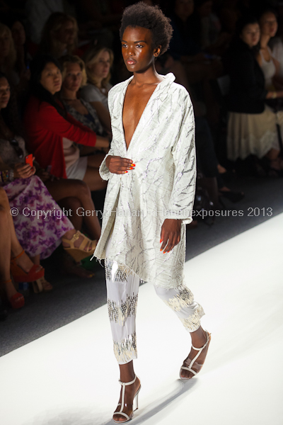 A model on the runway at the Tracy Reese SS2013 show at New York Mercedes-Benz Fashion Week.