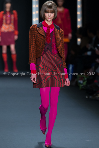Karlie Kloss walking for Anna Sui FW2013 during New York Fashion Week.