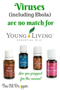 4 bottles of essential oil with text stating that viruses including ebola are no match for young living essential oils