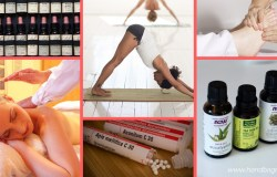 Alternative therapies: pictured is a person doing yoga, a homepathic pill vial, some essential oils, a person recieving a massage and someone's foot being massaged