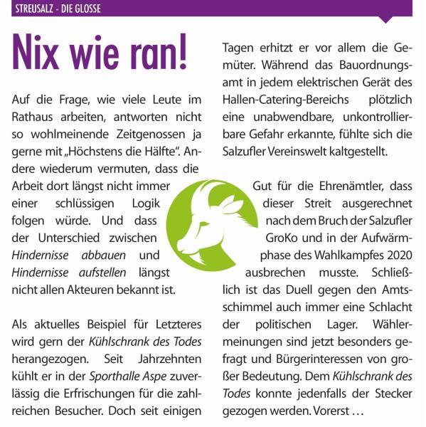 Nix wie ran!