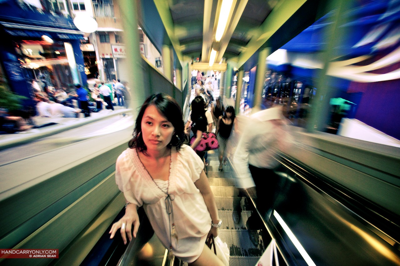 Girl on the mid levels escalator