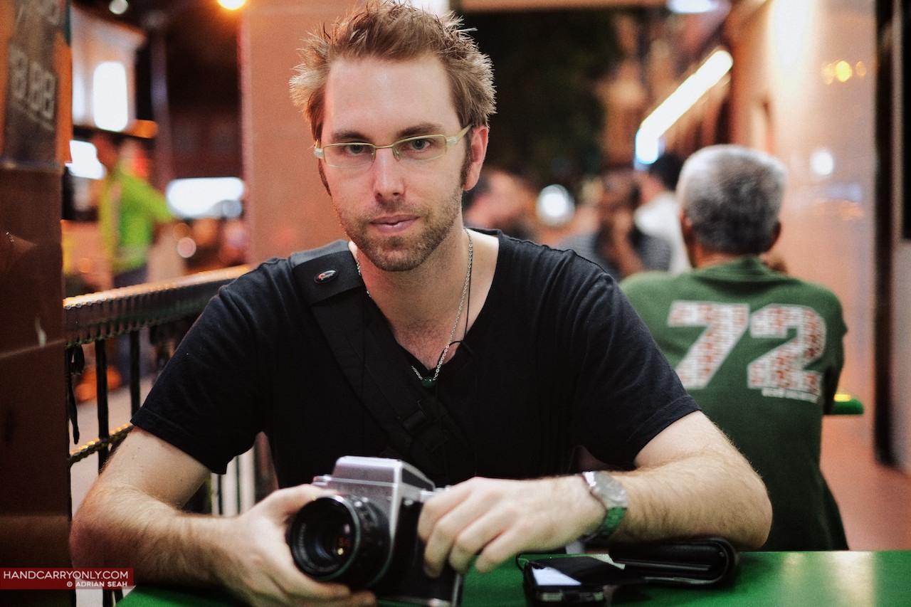 guy with Pentacon six camera
