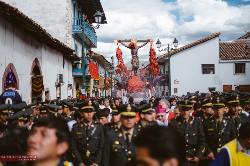 Señor de los Temblores, the patron of the city of Cusco being carried on procession during Santa Semana.