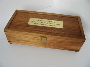 Cufflinks Box Tasmanian Blackwood Flat Lid with engraved brass plaque