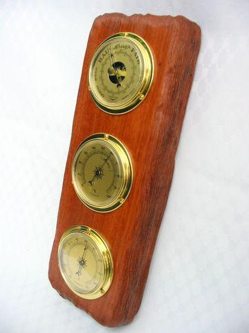 weather station wooden barometer thermometer hygrometer