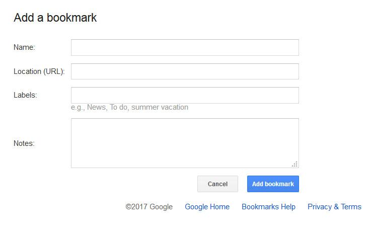 Google bookmark form