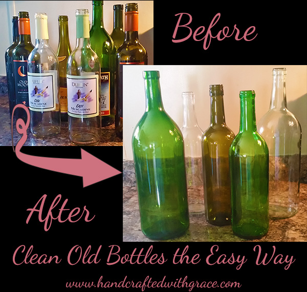 Cleaning Old Bottles the Easy Way by www.handcraftedwithgrace.com