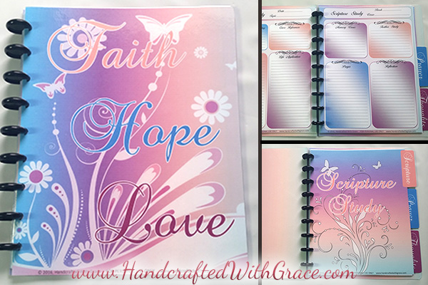 DIY Disc Bound Scripture Study and Prayer Journal with FREE 14 page PDF with Tabbed Dividers by www.HandcraftedWithGrace.com