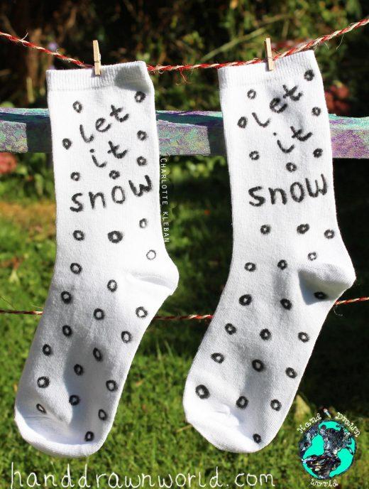 Hand Drawn 'Let It Snow' design, Christmas unisex white socks, women's socks, ladies socks