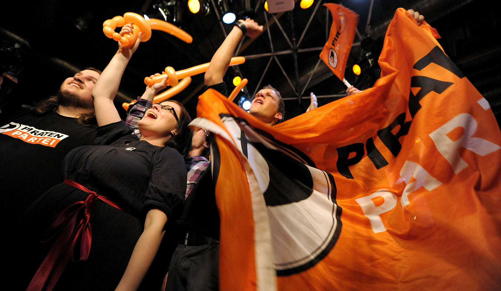 Piraten NRW vieren verkiezingsuitslag (foto handelsblatt.de/DPA)