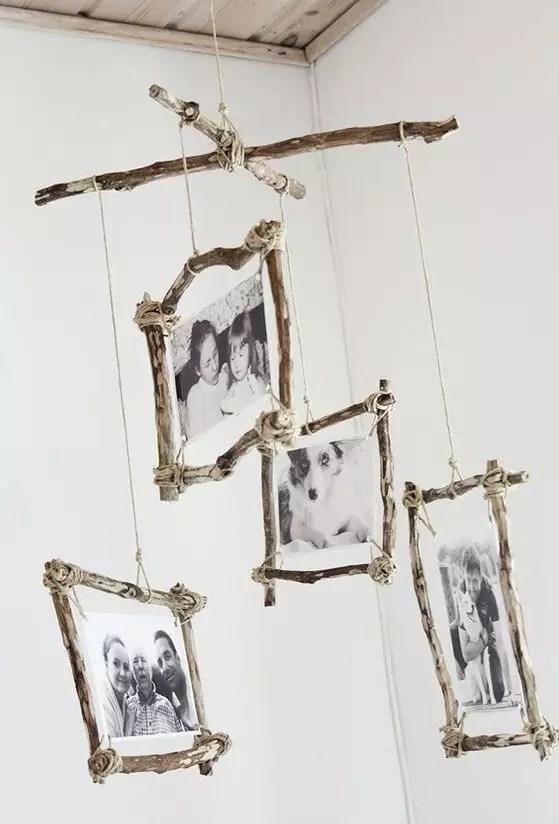 Manualidades con fotos y ramas
