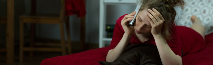 mum talking to listening partner on phone