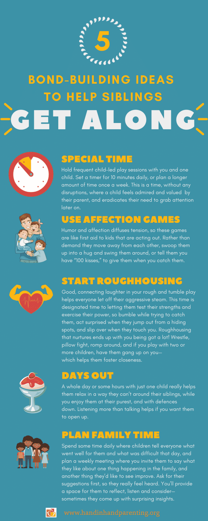 5 bond building ideas to help siblings get along Infographic