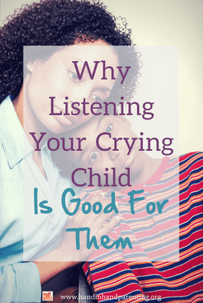 mom comforting son in a post about why listening to your crying child is good for them