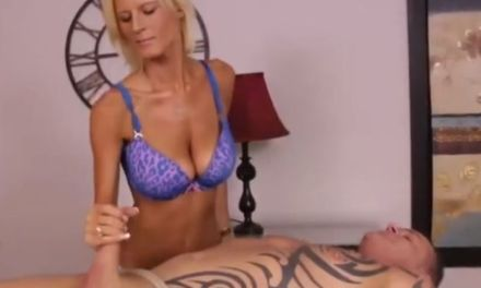 Hot blonde busty masseuse, handjob domination
