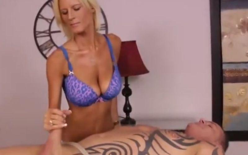 Hot blonde busty masseuse, handjob domination